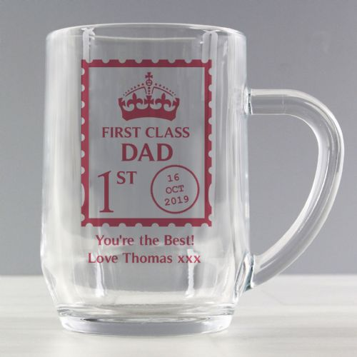 Personalised 1st Class Dad and Grandad Beer Glass Tankard Gift For Fathers Day